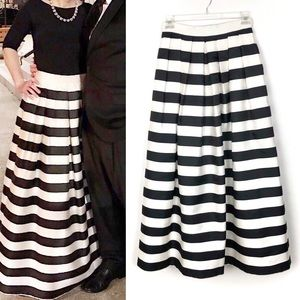 Tahari   Black & White Stripe Formal Maxi Skirt